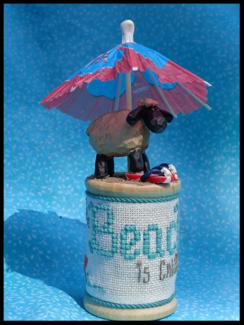 Faithwurks Designs - Summer Sheep-Faithwurks Designs - Summer Sheep,sand, lamb, beach, beach umbrella, cross stitch