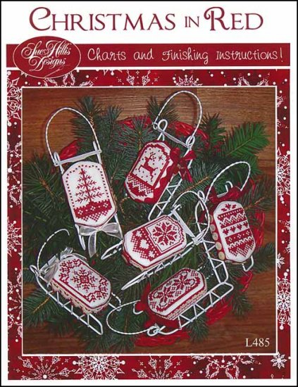 Sue Hillis Designs - Christmas in Red-Sue Hillis Designs - Christmas in Red, sleds, ornaments, cross stitch