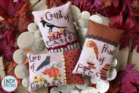 Lindy Stitches - Autumn Royalty-Lindy Stitches - Autumn Royalty, fall, crow, owl, blackbird, pumpkin, crown, candy corn, pumpkin pie, cross stitch