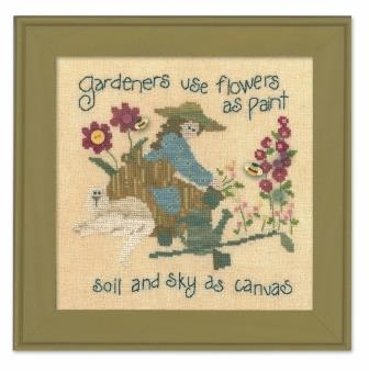 Just Another Button Company - Art To Heart - Garden Song - Part 4 - Gardeners Paint - Cross Stitch Pattern-Just Another Button Company, Art To Heart, Garden Song, Part 4 - Gardeners Paint - Cross Stitch Pattern