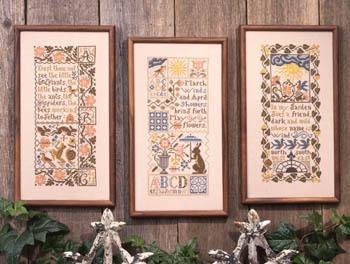 Prairie Schooler - Spring Samplers-Prairie Schooler - Spring Samplers, spring, seasons, rain, flowers, cross stitch