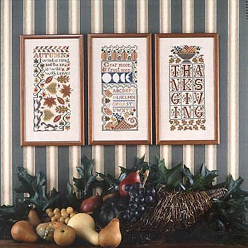 Prairie Schooler - Autumn Samplers-Prairie Schooler - Autumn Samplers, fall. Thanksgiving, leaves, pumpkins, cross stitch
