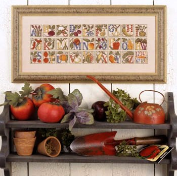 Prairie Schooler - Farmer's Alphabet-Prairie Schooler - Farmers Alphabet, fruit, vegetables, kitchen, sampler, cross stitch