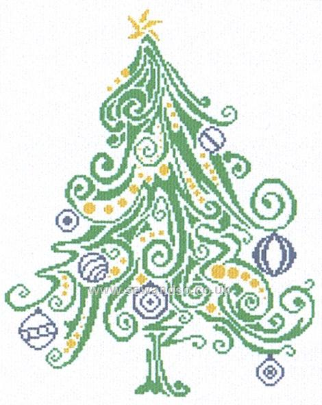 Alessandra Adelaide Needleworks - Special Christmas Tree 2012 - Cross Stitch Chart-Alessandra Adelaide Needleworks, Special Christmas Tree 2012, winter, Christmas, pine tree, ornaments, Cross Stitch Chart