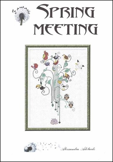 Alessandra Adelaide Needleworks - Spring Meeting - Cross Stitch Chart-Alessandra,Adelaide,Needleworks, Spring, Meeting, Cross, Stitch, Chart,birds, tree, flowers, leaves, green