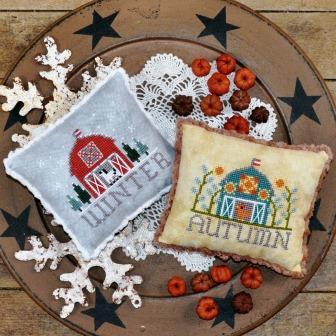 Annie Beez Folk Art - Bitty Barns - Autumn and Winter-Annie Beez Folk Art - Bitty Barns Autumn and Winter, pin cushions, seasons, farms, animals, cross stitch