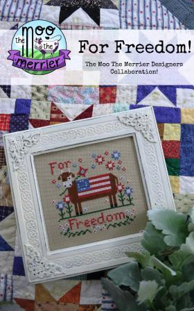 Annie Beez Folk Art - For Freedom!-Annie Beez Folk Art - For Freedom, patriotic, cow, Americana, USA, cross stitch, 2021 Needlework Expo