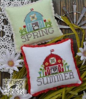 Annie Beez Folk Art - Bitty Barns - Spring and Summer-Annie Beez Folk Art - Bitty Barns - Spring and Summer, farm, sheep, flowers, animals, cross stitch