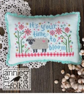 Annie Beez Folk Art - Time To Bloom-Annie Beez Folk Art - Time To Bloom, sheep, lamb, pin cushion, flowers, cross stitch, 2021 needlework Expo