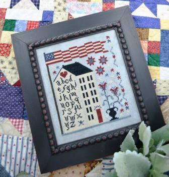 Annie Beez Folk Art - American Sampler House-Annie Beez Folk Art - American Sampler House, white house, American flag, sampler, patriotic, cross stitch