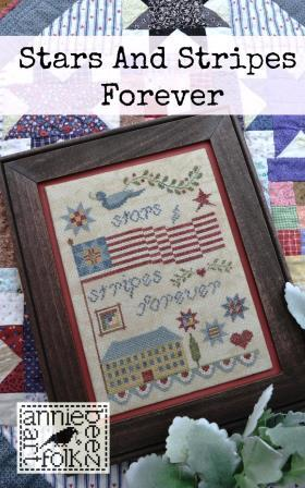 Annie Beez Folk Art - Stars and Stripes Forever-Annie Beez Folk Art - Stars and Stripes Forever, patriotic, USA, American flag, house, cross stitch