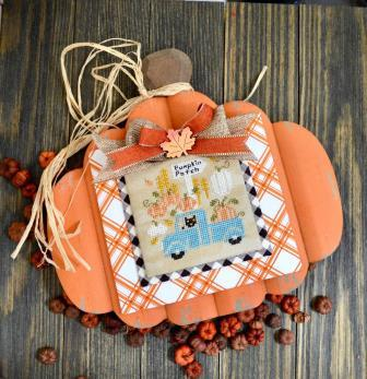 Annie Beez Folk Art - Pumpkin Pickin'-Annie Beez Folk Art - Pumpkin Pickin, country, fall, truck, kitty, pumpkin patch, expo, cross stitch