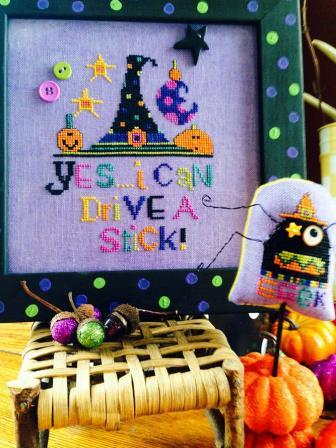 Amy Bruecken Designs - Drive A Stick-Amy Bruecken Designs - Drive A Stick, Halloween, witch. witchs broom, witchs hat, cross stitch,