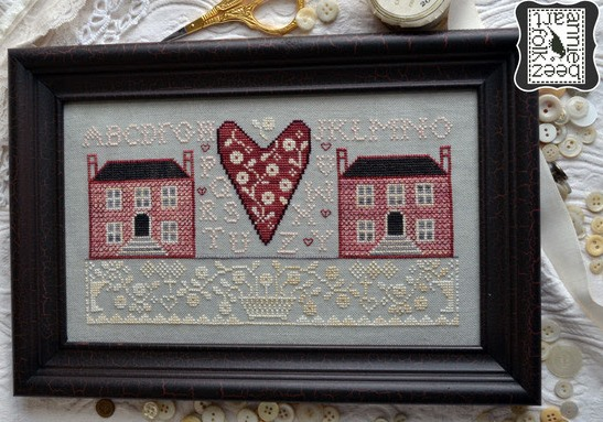 Annie Beez Folk Art - Little Pink Houses-Annie Beez Folk Art - Little Pink Houses, homes, love, friendship,cross stitch
