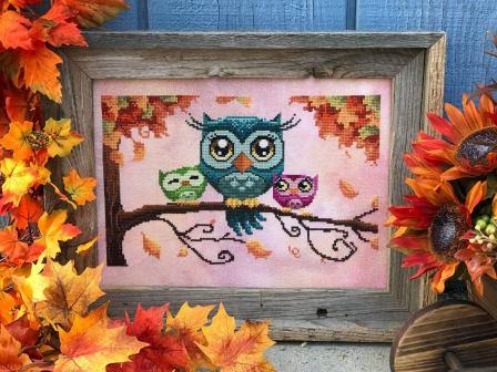 Autumn Lane Stitchery - Love on a Limb-Autumn Lane Stitchery - Love on a Limb, owls, trees, family, fall, cross stitch