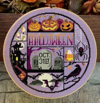 Autumn Lane Stitchery - Halloween Night-Autumn Lane Stitchery - Halloween Night, haunted house, spooky pumpkins, creepy bats, spiders, cross stitch