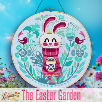Autumn Lane Stitchery - Easter Garden-Autumn Lane Stitchery - Easter Garden, bunny, rabbit, spring, flowers, cross stitch, 2021 NEEDLEWORK EXPO RELEASE