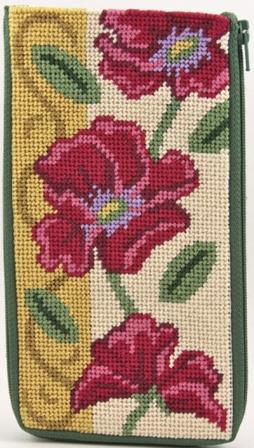 #AP-SZ456 Alice Peterson - Eyeglass Case - Red Poppies-Alice Peterson - Eyeglass Case - Red Poppies, glasses case,  needlepoint, floss,
