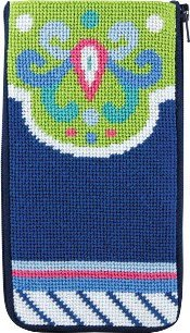 Alice Peterson Needlepoint - Eyeglass/Cell Phone Case - Navy-Lime Abstract-Alice Peterson Needlepoint - EyeglassCell Phone Case - Navy-Lime Abstract,
