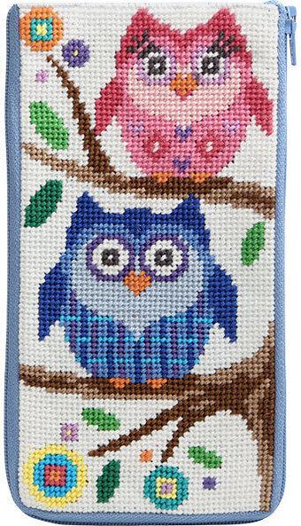 #AP-SZ480 Alice Peterson - Eyeglass Case - Owls Needlepoint Kit-Alice Peterson - Eyeglass Case - Owls Needlepoint Kit-needlework, glasses case,