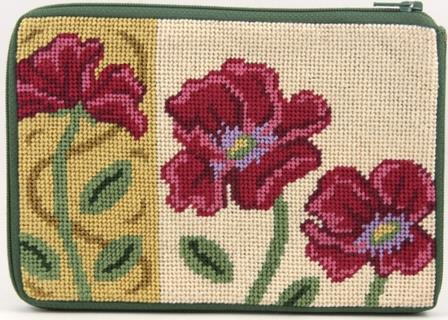 #AP-SZ481 Alice Peterson - Purse/Cosmetic Case - Red Poppies-Alice Peterson - PurseCosmetic Case - Red Poppies, pouch, needlepoint, flowers,