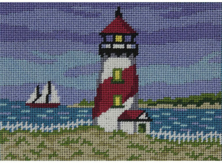 Alice Peterson Needlepoint - Canoodles - Red Lighthouse Kit-Alice Peterson Needlepoint, Canoodles, needlework canvas, ocean, sailboat,  Red Lighthouse Kit, needlepoint pillow,
