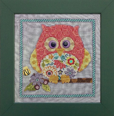 Just Another Button Company - Art To Heart - Curious Owl - Cross Stitch Pattern with Buttons