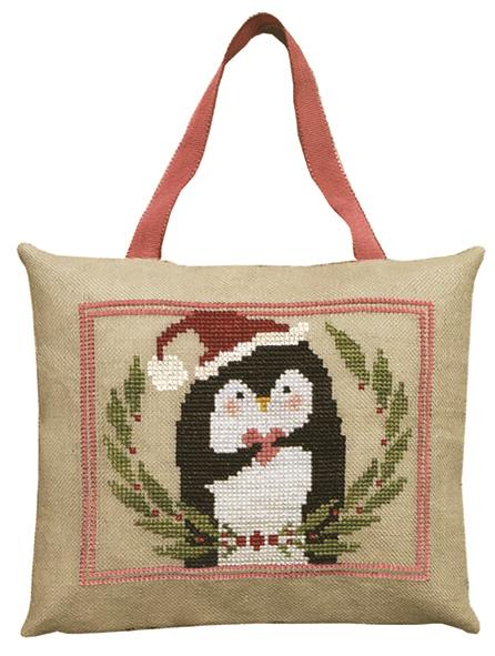 Artful Offerings - Pinny Penguin's Heart of Christmas-Artful Offerings - Pinny Penguins Heart of Christmas, ornament, penguin, Christmas, cross stitch