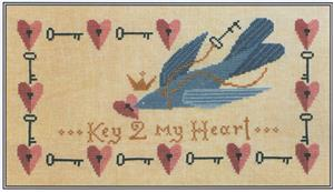 Artful Offerings - Key 2 My Heart-Artful Offerings - Key 2 My Heart, Valentines Day, Love, bluebird, marriage, loving, hearts, cross stitch