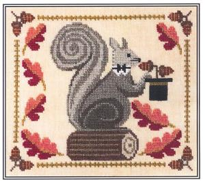 Artful Offerings - Squirrely Acorn Banquet-Artful Offerings - Squirrely Acorn Banquet, Fall, acorns, leaves, autumn, cross stitch, squirrel,