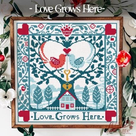 Autumn Lane Stitchery - Love Grows Here-Autumn Lane Stitchery - Love Grows Here,  hearts, birds, tree, lovebirds. cross stitch