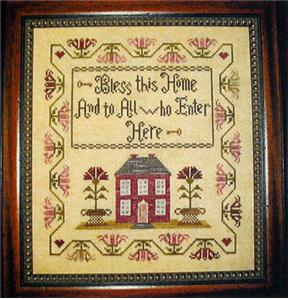 Abby Rose Designs - Bless This Home-Abby Rose Designs, Bless This Home, and all who enter it, sampler, prayers, inspirational, Cross Stitch Pattern