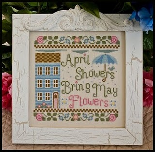 Country Cottage Needleworks - April Showers-Country Cottage Needleworks - April Showers, rain, house, flowers, cross stitch