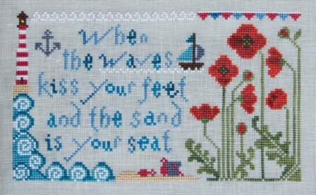 Cottage Garden Samplings - My Garden Journal - Part 08 of 12 - August Poppy - Cross Stitch Pattern-Cottage Garden Samplings, My Garden Journal, August Poppy, beach, lighthouse, waves, ocean, flowers, Cross Stitch Pattern