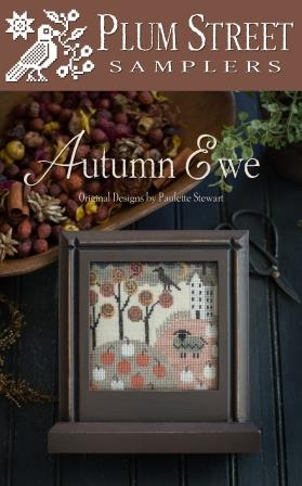 Plum Street Samplers - Autumn Ewe-Plum Street Samplers - Autumn Ewe, fall, sheep, lamb, hills, cross stitch