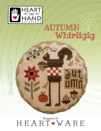 Heart in Hand Needleart - Autumn Whirligig-Heart in Hand Needleart - Autumn Whirligig, squirrel, fall, apples, acorns, cross stitch