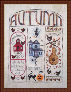 Whispered by the Wind - Autumn Homes for September, October, November - Cross Stitch Pattern-Whispered by the Wind  Autumn Homes September, October, November cross stitch pattern