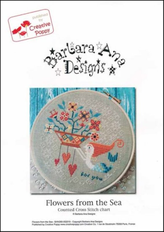 Barbara Ana Designs - Flowers from the Sea-Barbara Ana Designs - Flowers from the Sea, ocean, mermaid, hearts, cross stitch