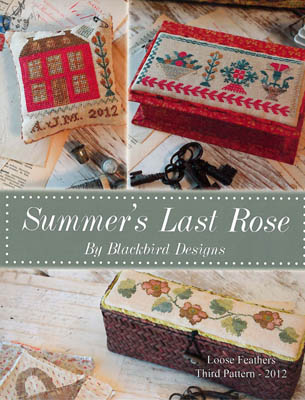 Blackbird Designs - Summer's Last Rose-Blackbird Designs - Summers Last Rose, sewing box, houses, flowers, cross stitch