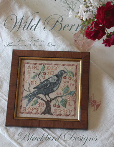 Blackbird Designs - Loose Feathers - Abecedarian Series - Part 01 of 12 - Wild Berries-Blackbird Designs, Loose Feathers 2013, Abecedarian Series,  Part 1 of 12,  Wild Berries, monthly series, birds, samplers, berries, Cross Stitch Pattern