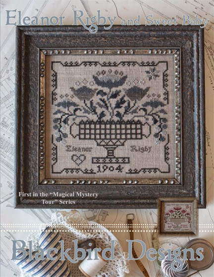 Blackbird Designs - Magical Mystery Series - Eleanor Rigby-Blackbird Designs - Magical Mystery Series - Eleanor Rigby , The Beatles, Ed Sullivan, music, flowers, cross stitch