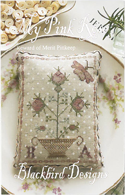 Blackbird Designs - My Pink Rose - Reward of Merit Pinkeep-Blackbird Designs - My Pink Rose - Reward of Merit Pinkeep, pincushion, flowers, spring, Cross Stitch Pattern