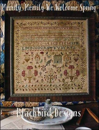 Blackbird Designs - Merrily Merrily We Welcome Spring-Blackbird Designs - Merrily Merrily We Welcome Spring, sampler, flowers, cross stitch, antiques,