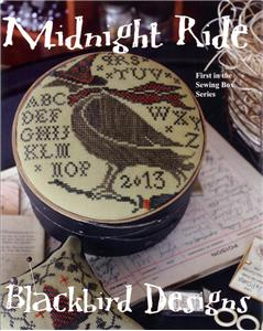 Blackbird Designs - Sewing Box Series - Midnight Ride-Blackbird Designs, Midnight Ride,Sewing Box Series, series, crow, fall, halloween, birds, Cross Stitch Pattern