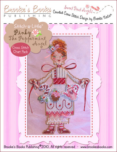 Brooke's Books - Sweet Treat Angels - PINKY The Peppermint Angel Cross Stitch Chart Pack-Brookes Books - Sweet, Treat, Angels, PINKY, The, Peppermint, Angel, Cross, Stitch, Kit,