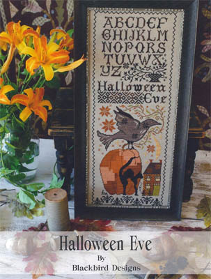 Blackbird Designs - Halloween Eve-Blackbird Designs - Halloween Eve - Cross Stitch Pattern, Halloween, crow, black cat, pumpkin, quaker,
