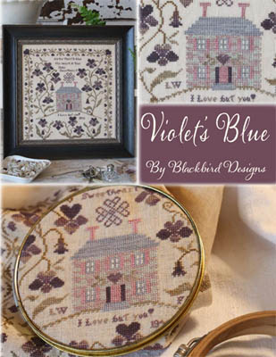 Blackbird Designs - Violets Blue - Cross Stitch Pattern-Blackbird Designs, Violets Blue, love, house on a hill, violet flowers, folk art, primitive ampler, Cross Stitch Pattern