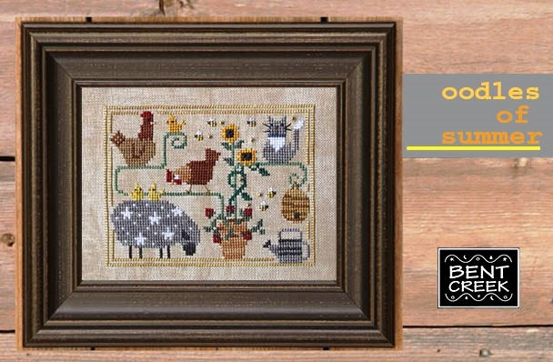 Bent Creek - Oodles of Summer-Bent Creek - Oodles of Summer - roosters, sheep, watering can, kitty, sunflower, bees, cross stitch
