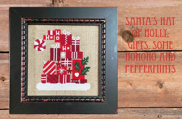 Bent Creek - Santa's Hat of Holly, Gifts, some HOHOHO & Peppermints-Bent Creek - Santas Hat of Holly, Gifts, some HOHOHO  Peppermints, Christmas, Santa Claus, gifts, decorations, peppermints, cross stitch