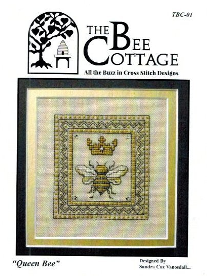 The Bee Cottage - Queen Bee-The Bee Cottage - Queen Bee, bee hive, crown, bees, insects, honey, cross stitch